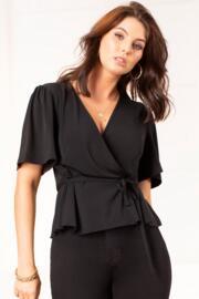 Slinky Jersey Tie Detail Wrap Top  - Black