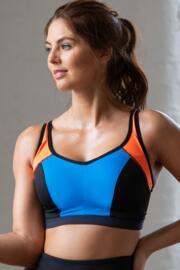 Energy Lightly Padded Underwired Sports Bra - Orange/Blue