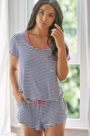 Jersey Stripe Short PJ Set - Navy/White