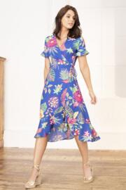 Frill Detail Woven Midi Wrap Dress - Cobalt Floral