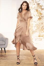 Satin Midi Wrap Dress - Mink