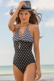 Key West Halter Control Swimsuit  - Black/White