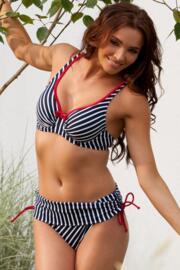 Ahoy Fold Over Stripe Bikini Brief - Navy/White