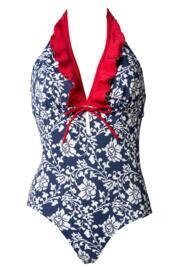 Aloha Control Halter Swimsuit - Blue