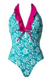 Aloha Control Halter Swimsuit - Spearmint