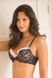 Love Lace Lightly Padded Bra - Black/Pink