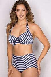 Boardwalk Underwired Halter Top - Navy/White