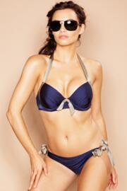 Marbella Cup Sized Padded Halter Bikini Top - Planet/Navy