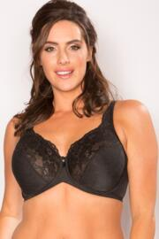 Jacquard Full Coverage Bra - Black