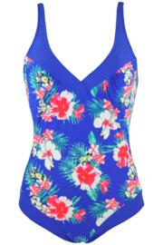 Blue Flowers Control Swimsuit - Blue