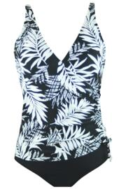 Fern Wrap Over Control Swimsuit  - Black/White