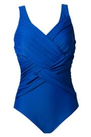 Ruched V Neck Swimsuit - Blue