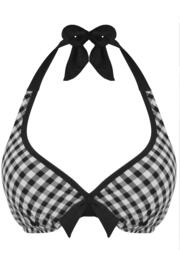 Checkers Hidden Wire Halter Triangle Top - Black/White