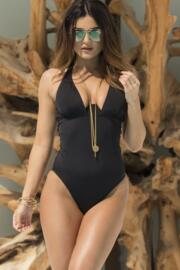 Instaglam Cut Away Swimsuit - Black