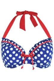 Starboard Padded Halter Underwired Spotty Top - Navy/Red