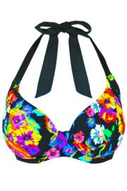 Black Dahlia Halter Triangle Underwired Top - Black Multi