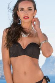 Pleated Strapless Padded Underwired Top - Black