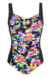 Black Dahlia Control Swimsuit - Black Multi