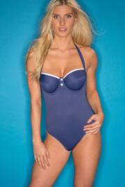 Waffle Padded Underwired Swimsuit - Navy